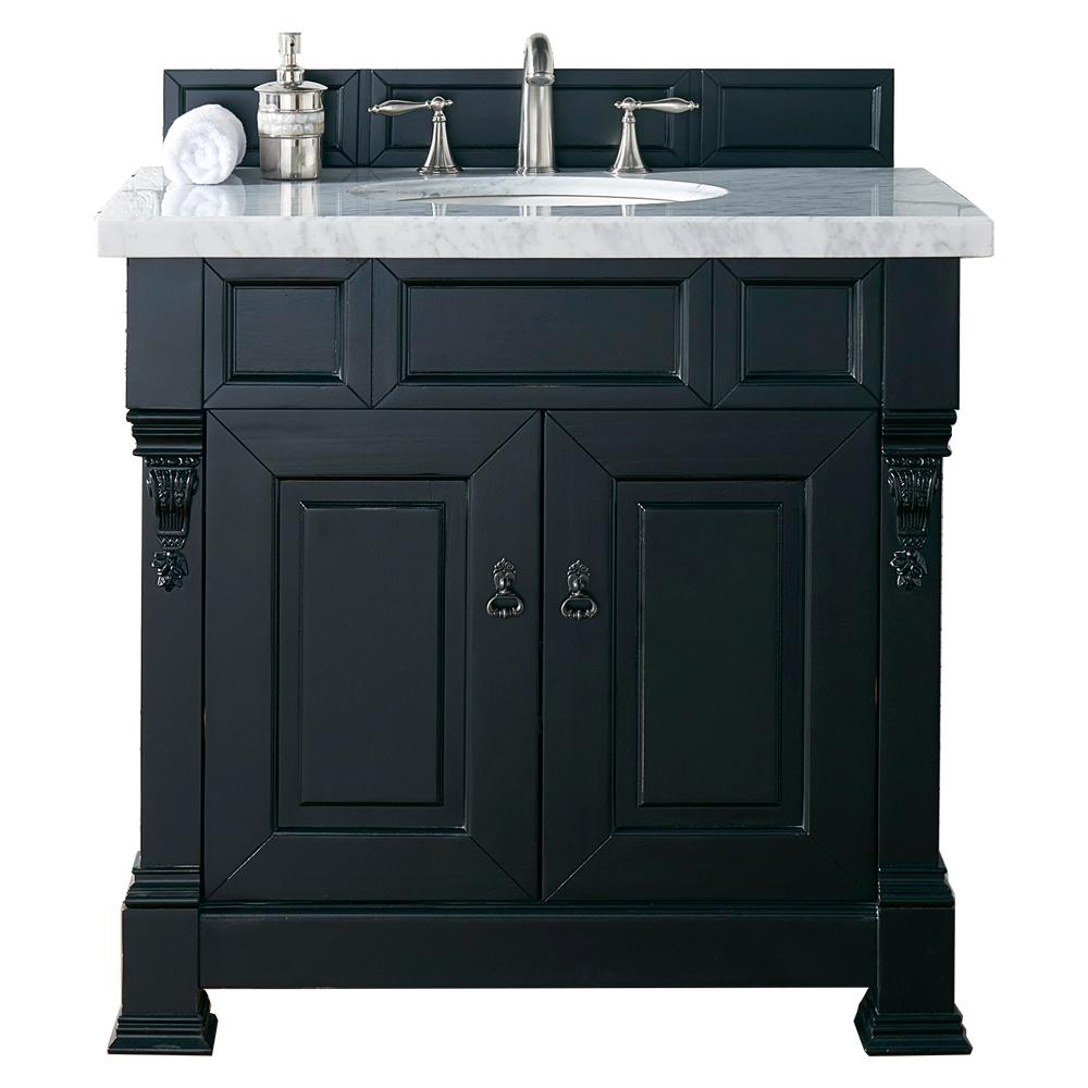 Brookfield 36 in. W Single Vanity in Antique Black with Marble