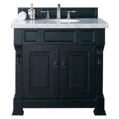 Brookfield 36 in. W Single Vanity in Antique Black with Marble Vanity Top in Carrara White with White Basin