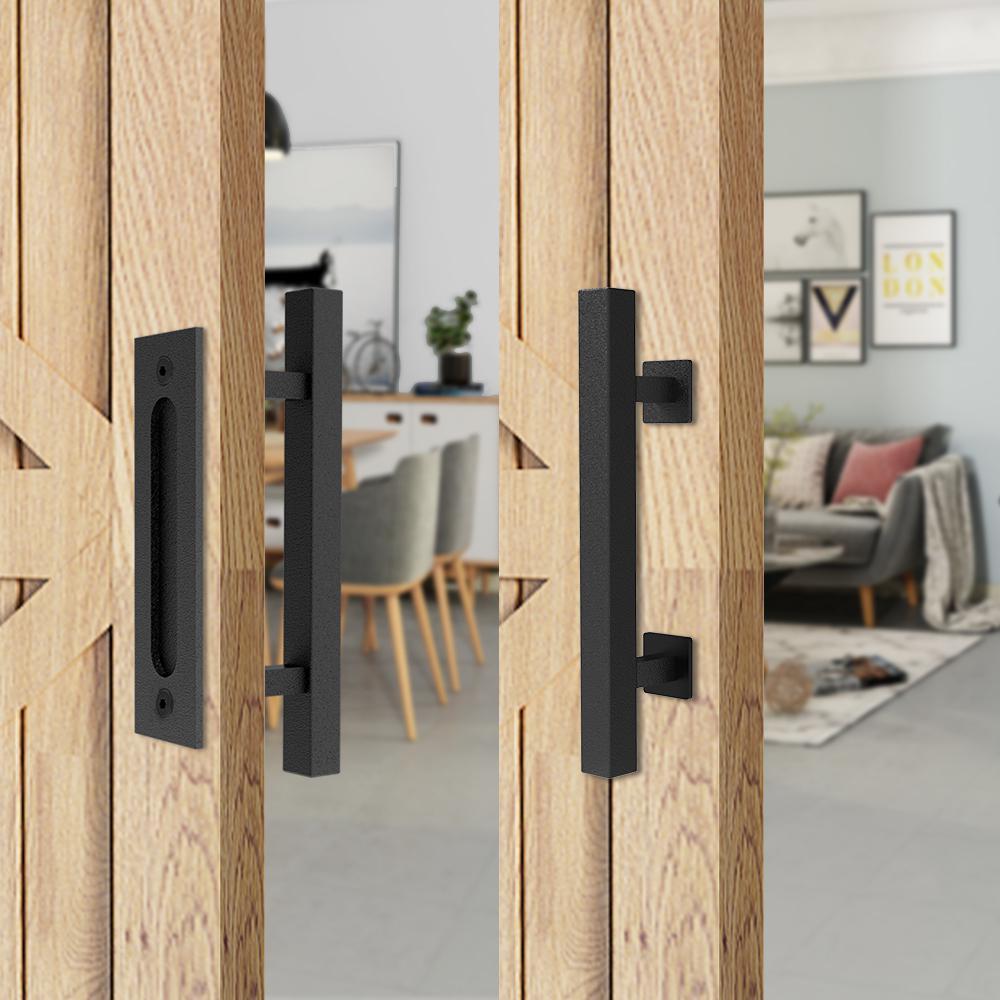 Sliding Barn Door Handle 2 Pack FaithLand 12 Heavy Duty Pull and Flush Door Handle Set in Black Fit Doors Up to 2 3//8