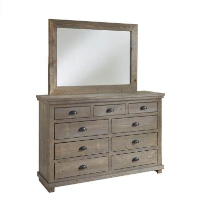 Willow 9-Drawer Weathered Gray Dresser with Mirror