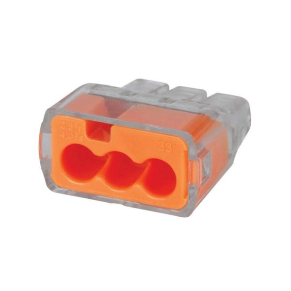 In-Sure Push-In Wire Connector, 3-Port - Orange (100 Per Bag, Standard Package is 3 Bags)