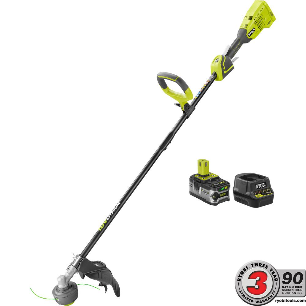 One 18 Volt Lithium Ion Brushless Cordless String Trimmer 4 0 Ah Battery And Charger Included