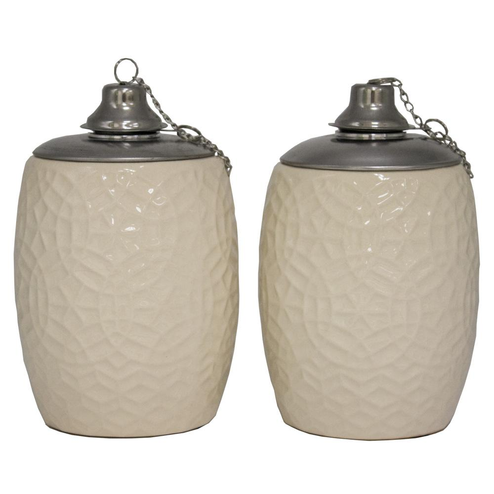 Trendspot 6 In Cream Rivage Ceramic Tabletop Torch Set Of 2