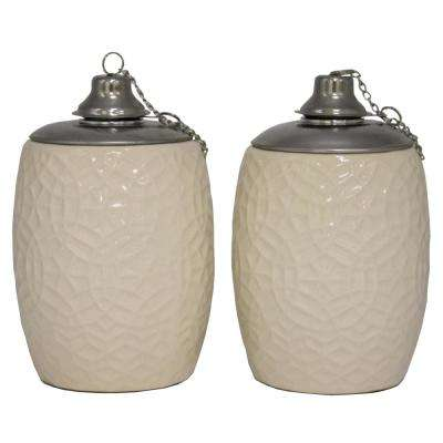 6 in. Ivory Rivage Ceramic Tabletop Torch (Set of 2)