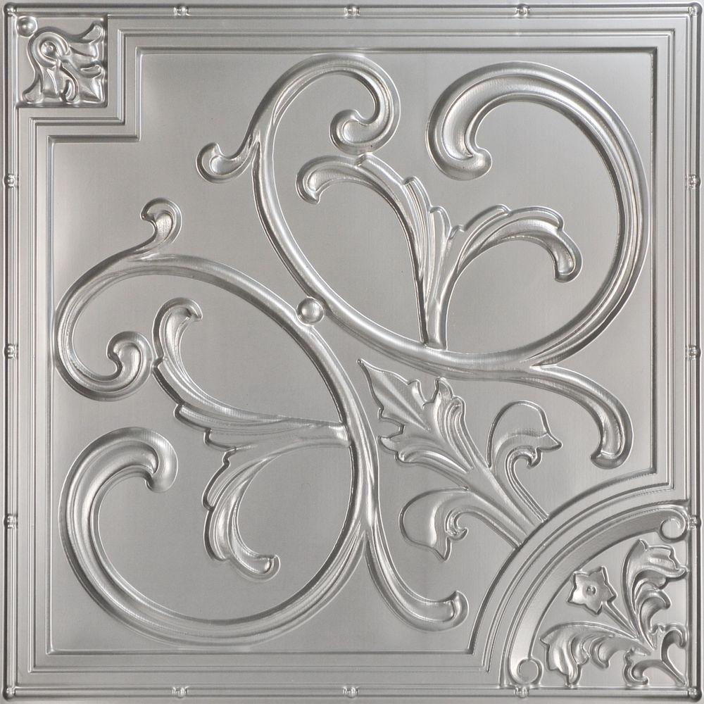 Lilies and swirls 2 ft x 2 ft pvc lay in or glue up ceiling pvc lay in or glue up ceiling panel in silver 100 sq ft case 204sr 24x24 25 the home depot dailygadgetfo Images