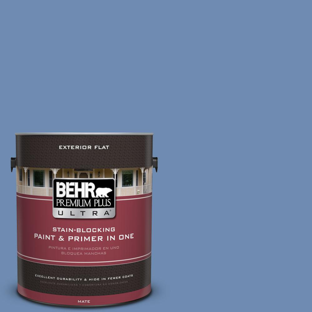 BEHR Premium Plus Ultra 1-gal. #590D-5 Windsurf Blue Flat Exterior Paint