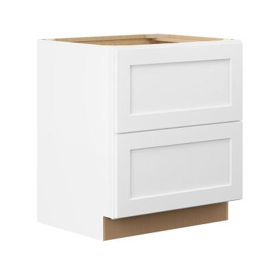 Hampton Bay Denver White Plywood Shaker Ready to Assemble Maple Drawer Base Cabinet (36 in. W x 34.5 in. H x 24 in. D)