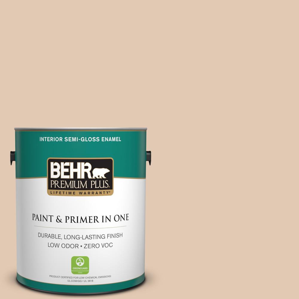 BEHR Premium Plus 1 gal. #290E-2 Oat Cake Semi-Gloss Enamel Zero VOC Interior Paint and Primer in One
