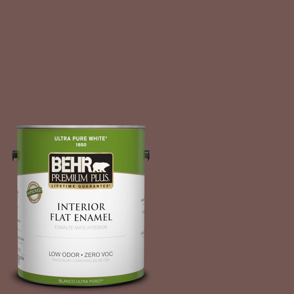 BEHR Premium Plus 1-gal. #180F-6 Brown Ridge Zero VOC Flat Enamel Interior Paint-DISCONTINUED