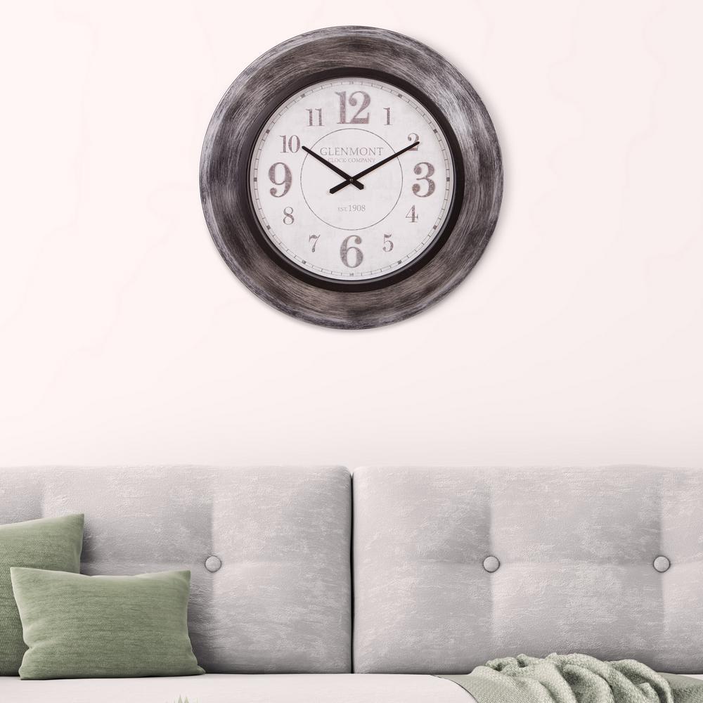 Patton Glenmont Modern Slope Gunmetal Gray Wall Clock