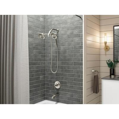 Freespin Bellerose 3-Spray Patterns 5.25 in. Wall Mount Dual Shower Heads in Vibrant Brushed Nickel