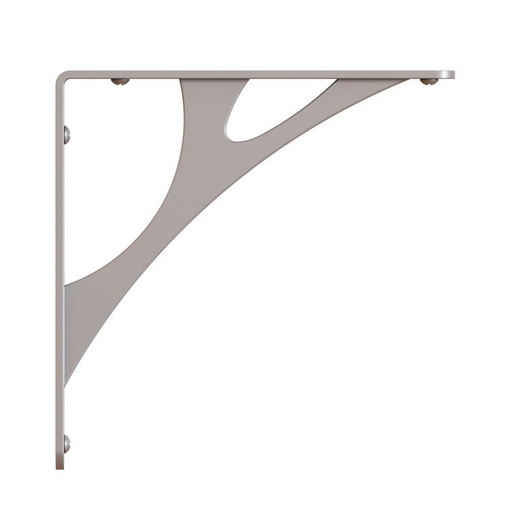 Shelf-Made Manhattan Steel 7.75 in. D x 1 in. W x 7.750 in. H Satin Nickel 50 lbs. Decorative Shelf Bracket