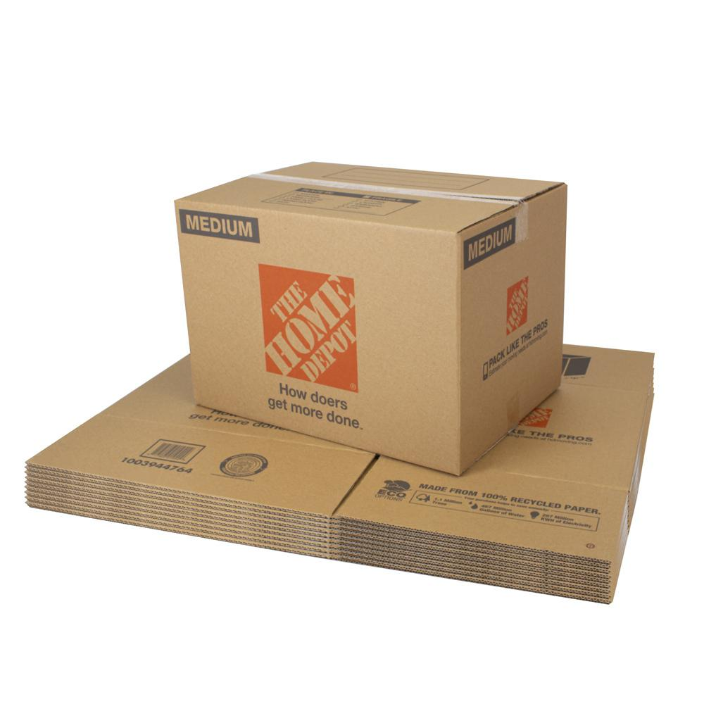 The Home Depot Medium Moving Box 10-Pack (22 in. L x 16 in. W x 15 in. D) The Home Depot Medium Moving Box is great for storing and shipping moderately heavy or bulky items. Ideal for kitchen items, toys, small appliances and more. This box is crafted from 100% recycled material for an environmentally responsible moving and storage option.