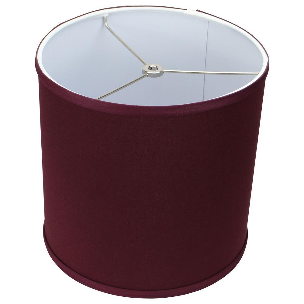 10 in. Top Diameter x 10 in. H x 10 in. Bottom Diameter Linen Burgundy Drum Lamp Shade