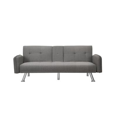 74.8 in. Gray Fabric 4-Seater Full Sleeper Sofa Bed with Square Arms