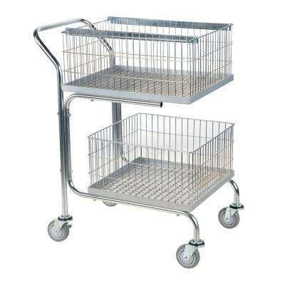 29 x 18 x 39 in. Mail Cart-Double Tray-Basket