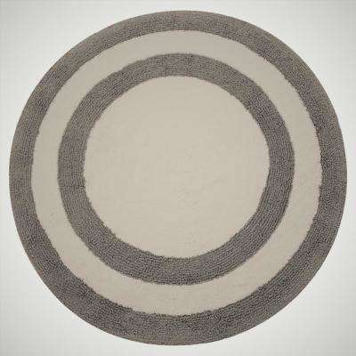 Two Tone 36 in. Round Cotton Reversible Gray/White 200 GSF Machine Washable Bath Rug
