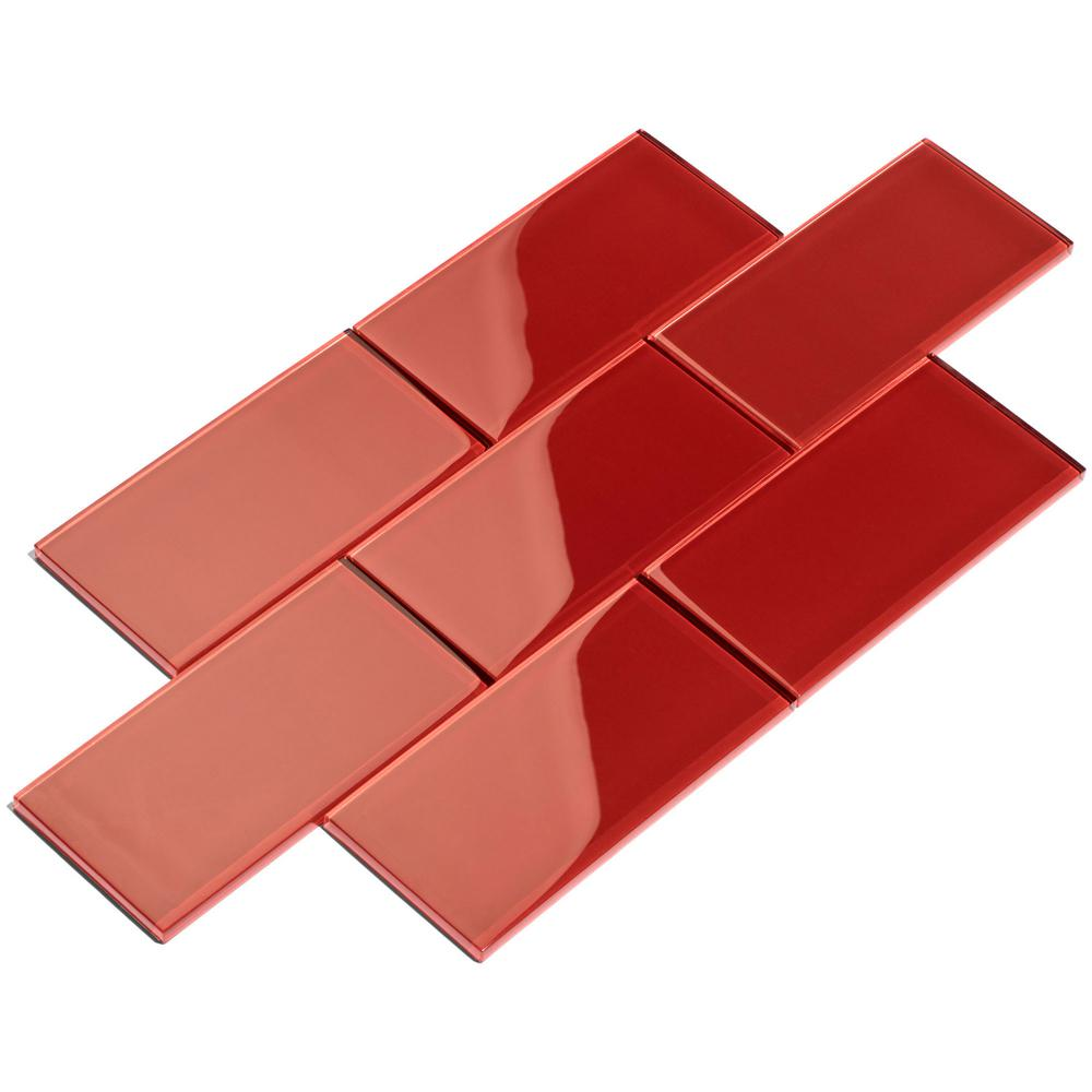 Giorbello Ruby Red Subway 3 In X 6 In X 8mm Glass Backsplash And