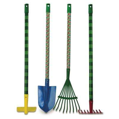 The Very Hungry Caterpillar 30 in. Kids 4-Piece Garden Tool Set Hoe, Shovel, Leaf Rake, Garden Rake