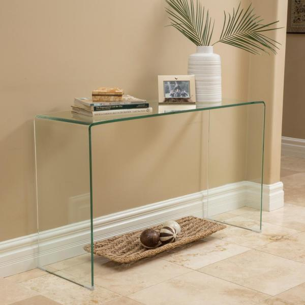 Noble House Cadyn 50 In Clear Rectangle Glass Console Table 7663 The Home Depot