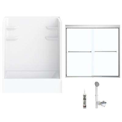 60 in. x 32 in. x 82 in. Bath and Shower Kit with Left-Hand Drain and Door in White and Chrome Hardware