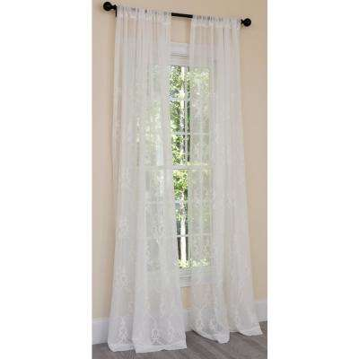 Mohini Embroidered Sheer Rod Pocket Single Curtain Panel in White - 54 in. x 108 in.