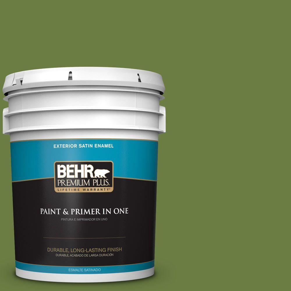 5-gal. #M350-7 Healing Plant Satin Enamel Exterior Paint
