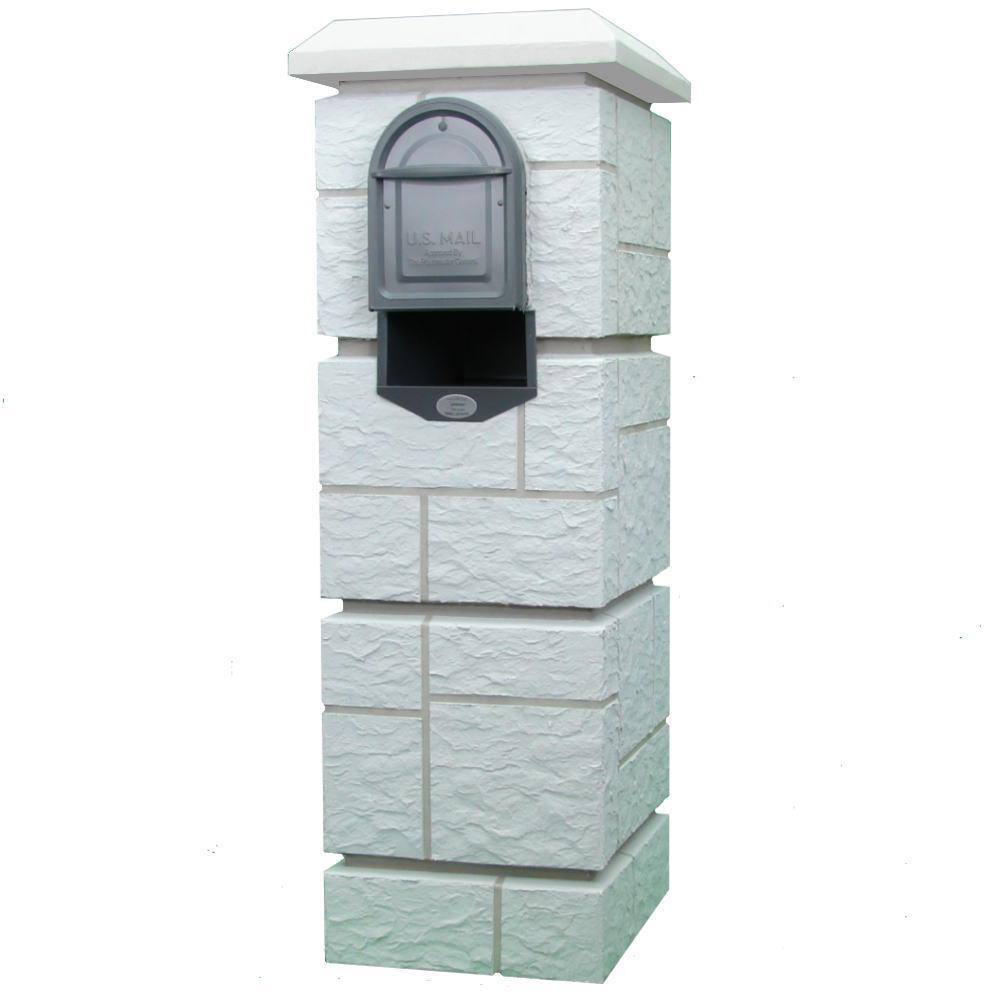 Dakota Castle Mailbox Column with Medium Size Powder Coated Galvanized Steel