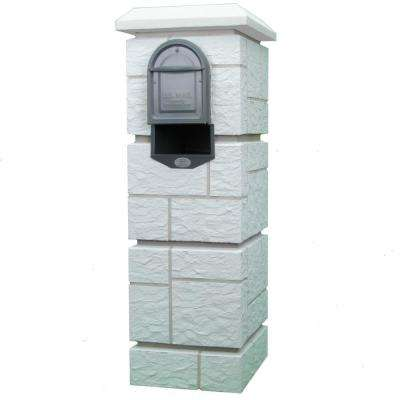 Dakota Castle Mailbox Column with Medium Size Powder Coated Galvanized Steel Insert