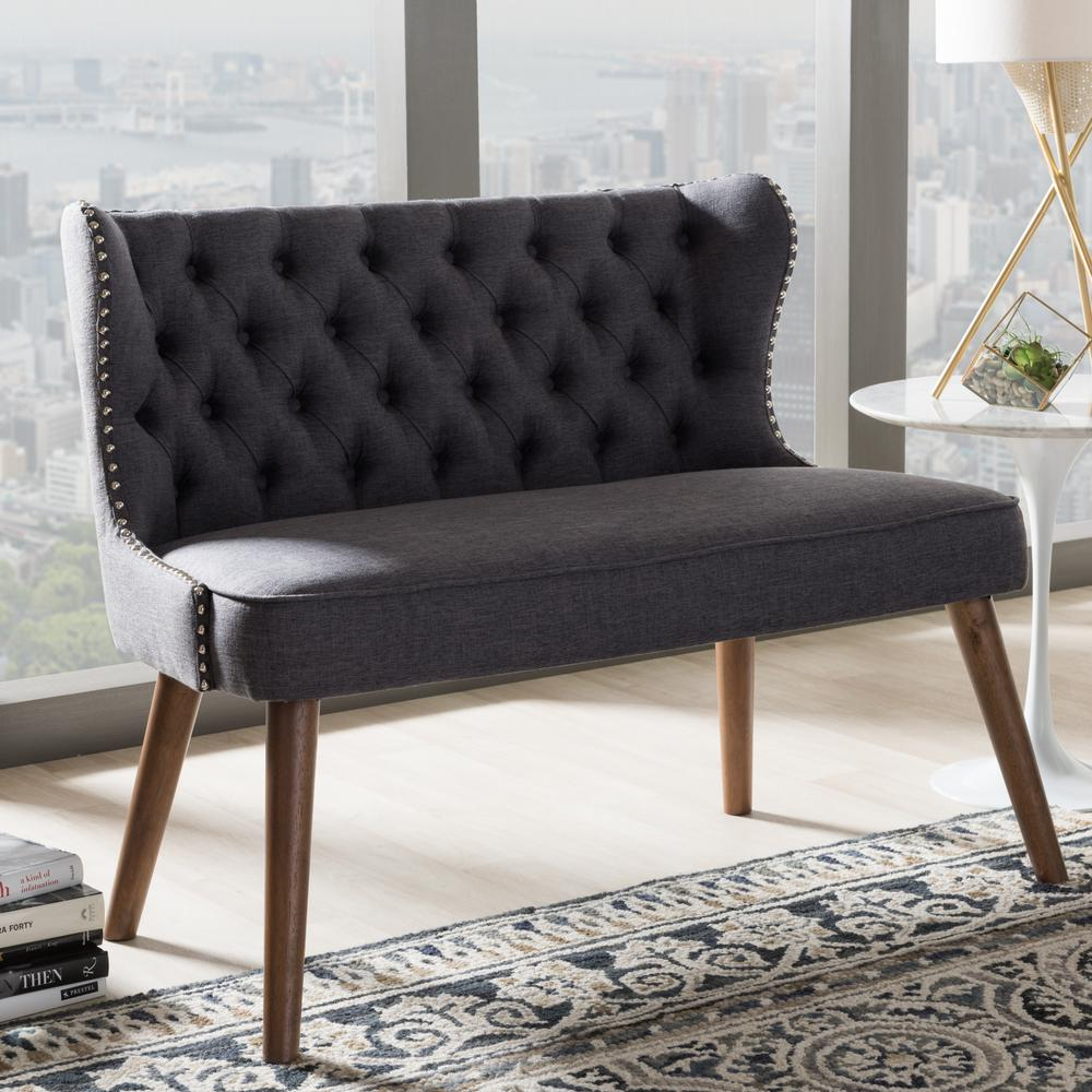 Scarlett Mid-Century Gray Fabric Upholstered Loveseat