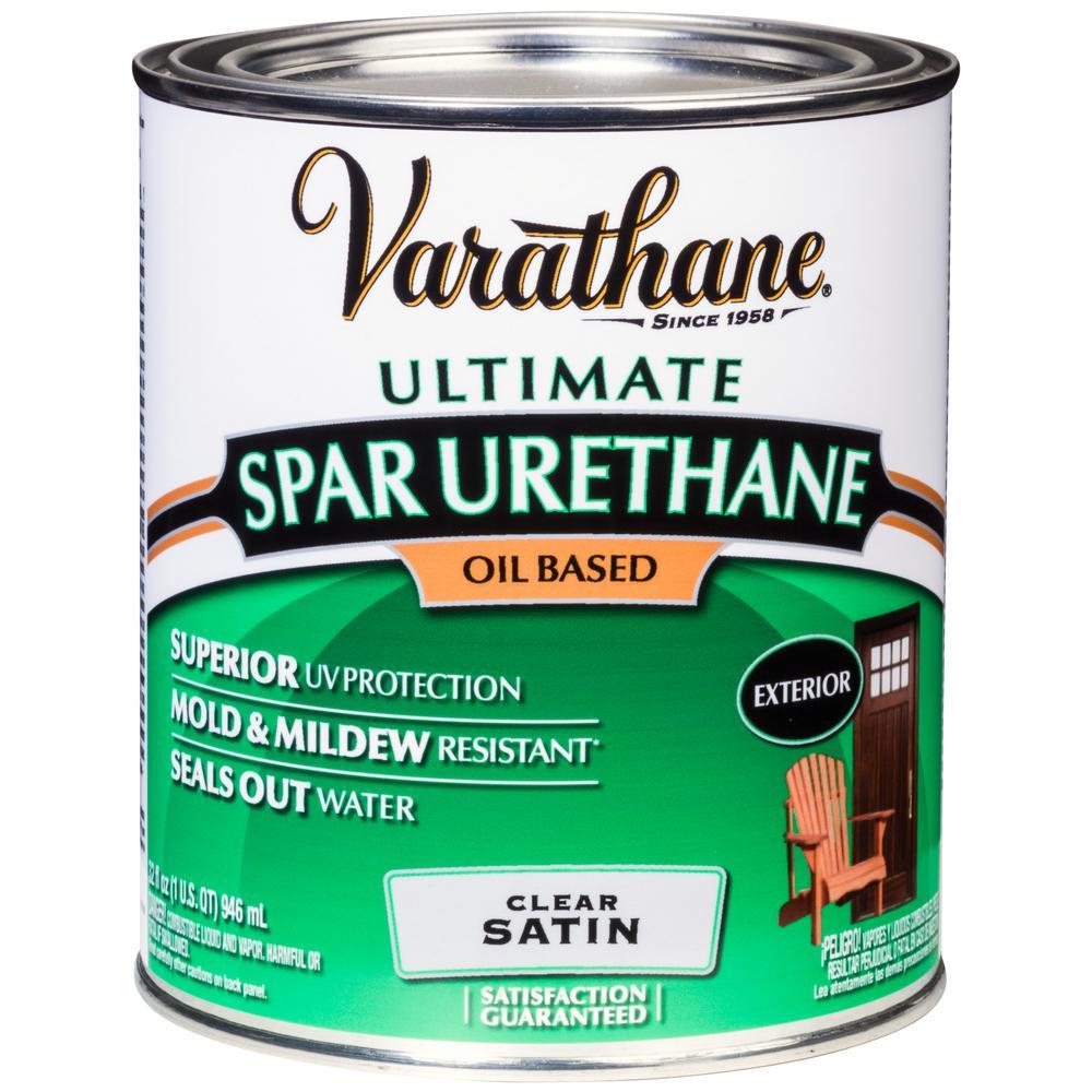 Varathane 1 Qt Clear Satin 275 Voc Oil Based Exterior Spar Urethane 242183h The Home Depot