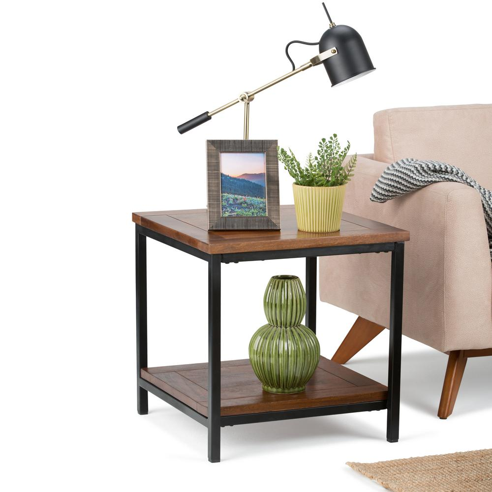 Simpli Home Skyler Dark Cognac Brown End Table