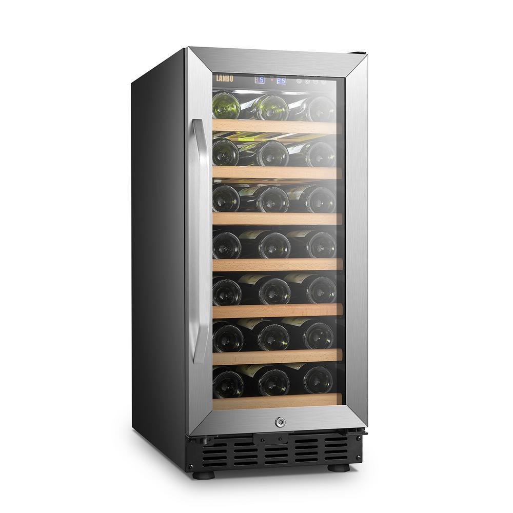 15 in. 33-Bottle Stainless Steel Single Zone Wine Refrigerator