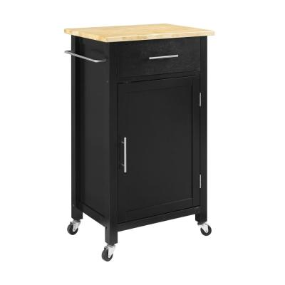 Savannah Black Compact Kitchen Island with Wood Top