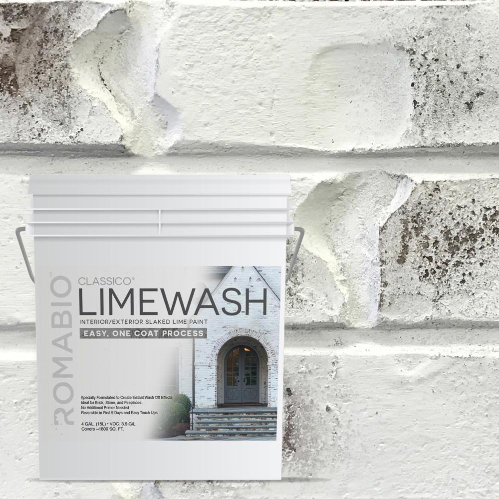 4 Gal Bianco White Limewash Interior Exterior Paint