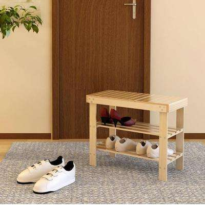 Pine Solid Wood Natural Color 3-Shelf Multipurpose Rack with Stool
