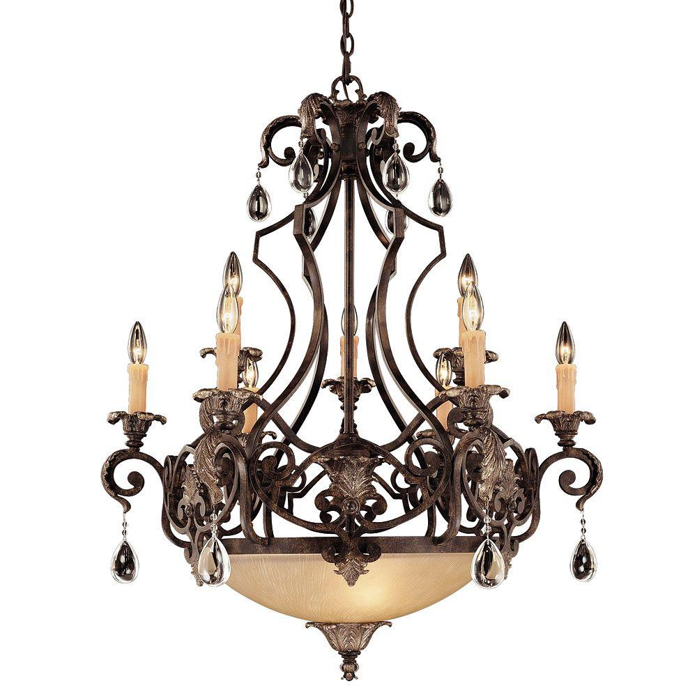 Illumine 9-Light Moroccan Bronze Cream Dupioni Chandelier with Clear Glass Crystals