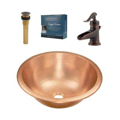 Born All-in-One Undermount or Drop-In Bathroom Sink in Unfinished Copper with Pfister Faucet and Grid Drain
