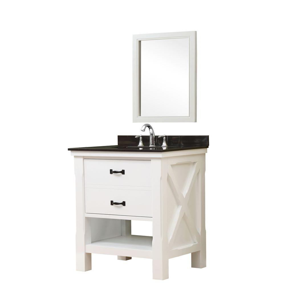 Direct vanity sink Xtraordinary Spa 32 in. Vanity in White with Granite Vanity Top in Black with White Basin and Mirror