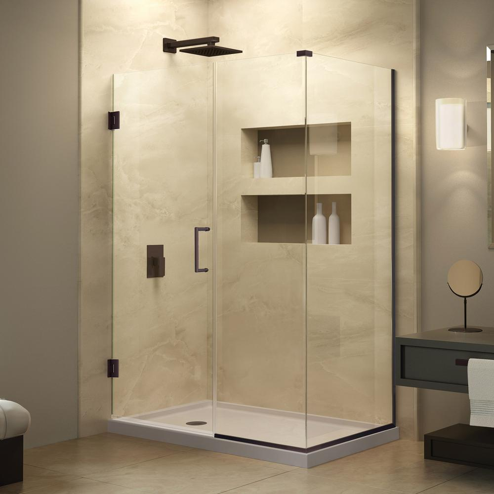 DreamLine Unidoor Plus 30-3/8 in. x 30 in. x 72 in. Hinged Shower Enclosure with Half Frosted Glass in Oil Rubbed Bronze