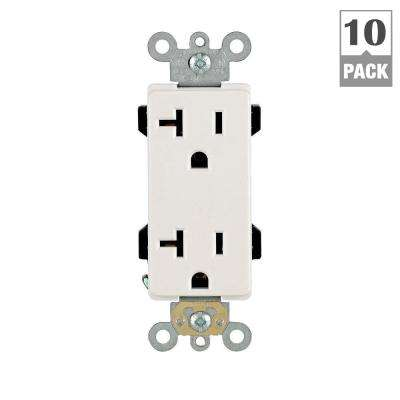 Decora Plus 20 Amp Duplex Outlet, White (10-Pack, Individually Boxed)