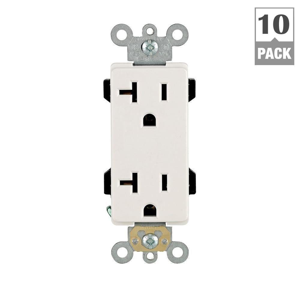 Decora Plus 20 Amp Duplex Outlet, White (10-Pack)