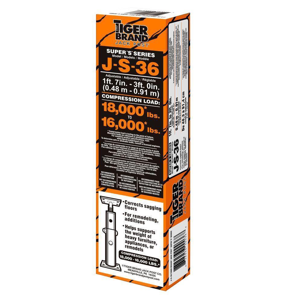 Jack Post Adjustable 3ft High Support Sagging Floor Column