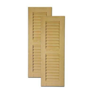48 in. x 18 in. x 1 in. Polyurethane Timber Louvered Shutters Pair