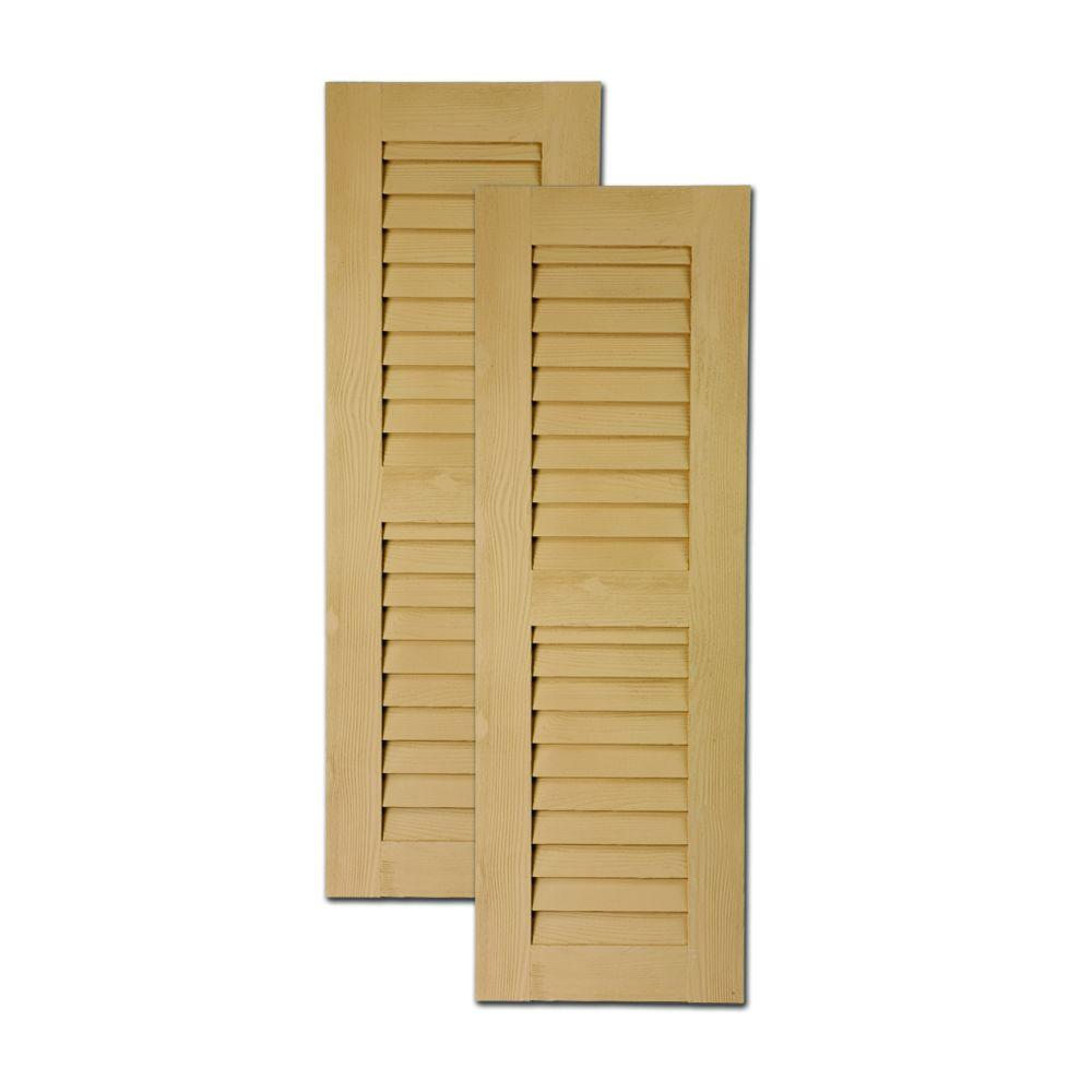 Fypon 60 in. x 18 in. x 1 in. Polyurethane Timber Louvered Shutters Pair