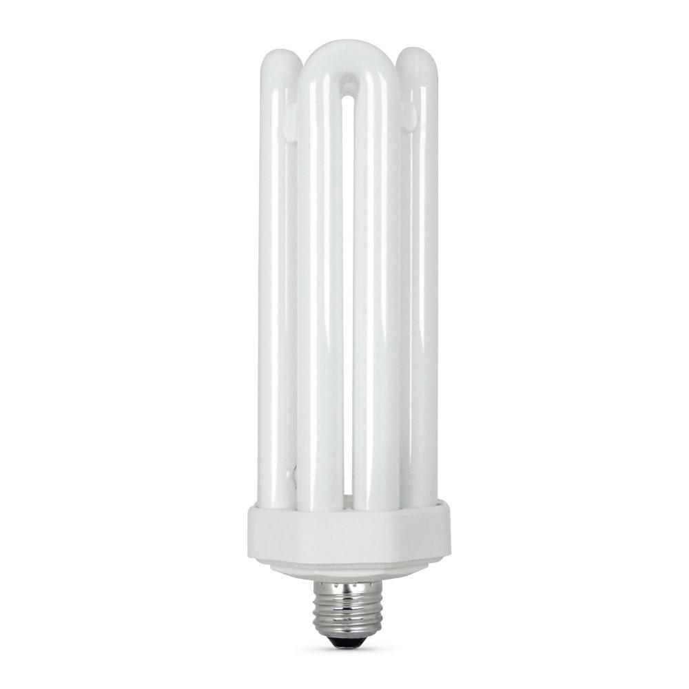 300-Watt Equivalent CFLNI Quad Tube E26 Base with Mogul Base Adapter Non-Dimmable CFL Light Bulb, Daylight 6500K