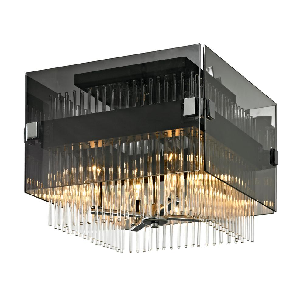 Troy Lighting Apollo 4 Light Dark Bronze And Polished Chrome 14 In W Semi Flush Mount With Plated Smoked Gl Clear Rods