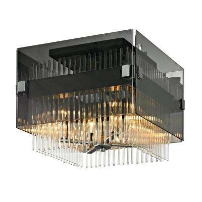 Apollo 4-Light Dark Bronze and Polished Chrome 14 in. W Semi-Flushmount with Plated Smoked Glass with Clear Glass Rods