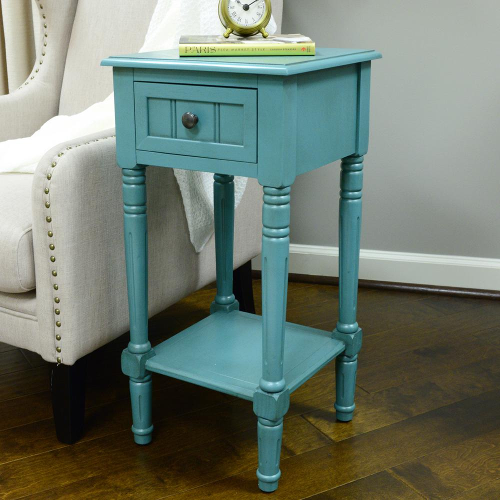 Decor Therapy Simplify Blue 1-Drawer End Table-FR1549 - The Home Depot