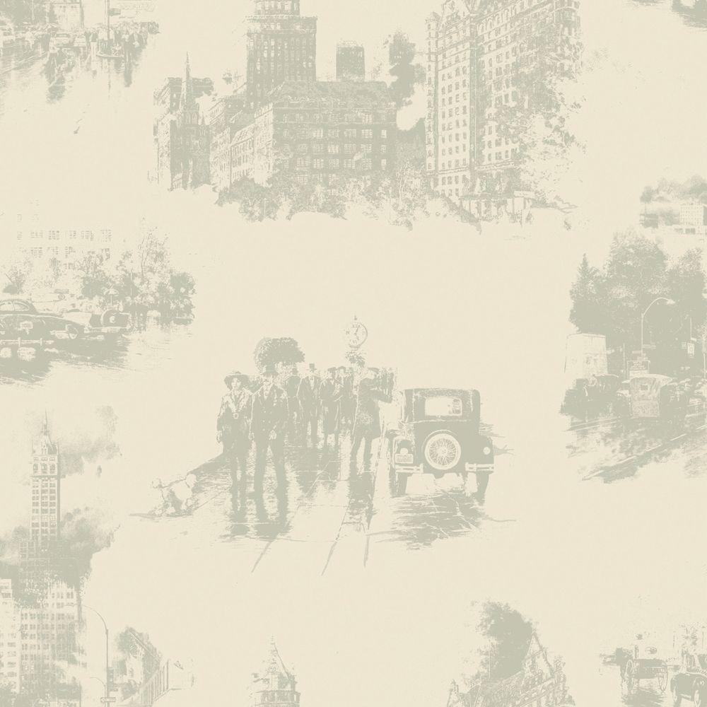 The Wallpaper Company 56 sq. ft. Grey And Beige Nostalgic City Wallpaper